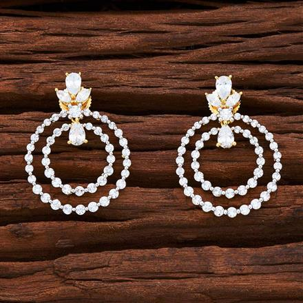 54841 CZ Short Earring with 2 tone plating