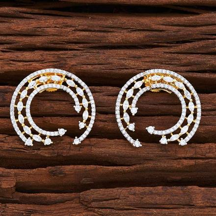 54842 CZ Front Back Earring with 2 tone plating