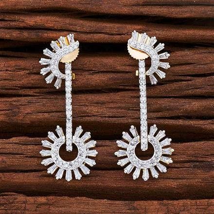 54843 CZ Short Earring with 2 tone plating