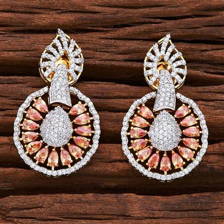 54844 CZ Short Earring with 2 tone plating
