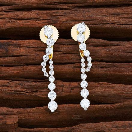 54845 CZ Front Back Earring with 2 tone plating
