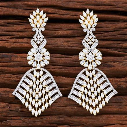 54854 CZ Classic Earring with 2 tone plating