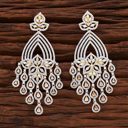54855 CZ Classic Earring with 2 tone plating