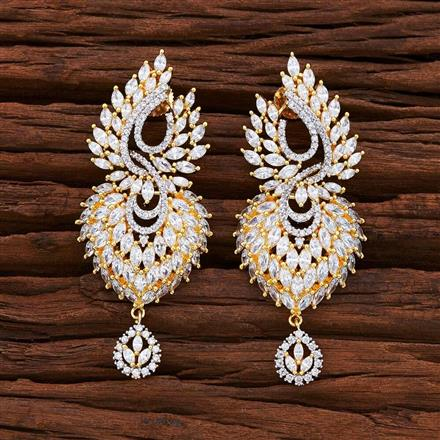 54856 CZ Classic Earring with 2 tone plating