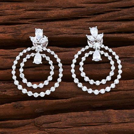 54858 CZ Short Earring with rhodium plating