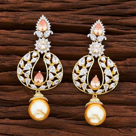 54865 CZ Classic Earring with 2 tone plating