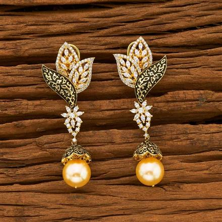54874 American Diamond Jhumki with gold plating