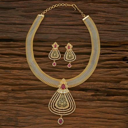 54887 CZ Classic Necklace with 2 tone plating