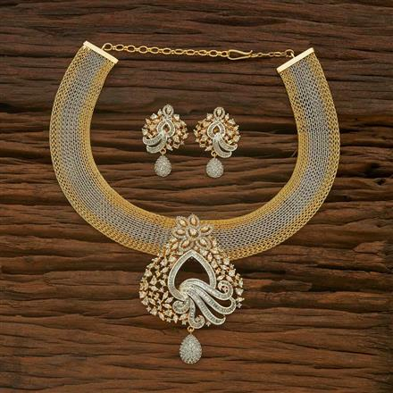 54888 CZ Classic Necklace with 2 tone plating
