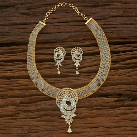 54890 CZ Classic Necklace with 2 tone plating