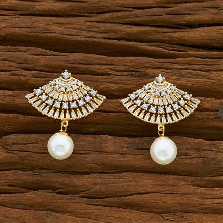54915 CZ Short Earring with 2 tone plating