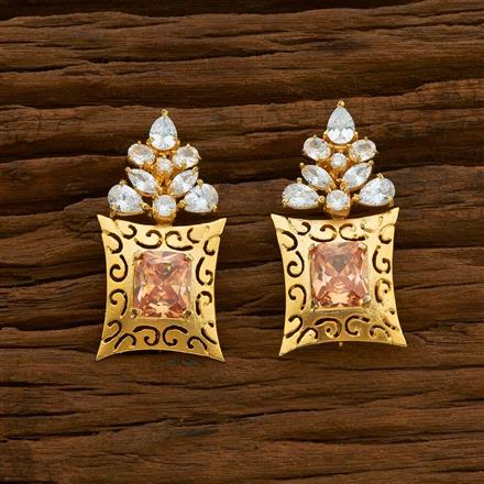 54916 CZ Short Earring with gold plating