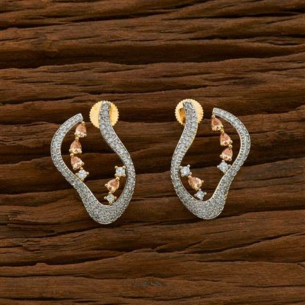 54917 CZ Short Earring with 2 tone plating