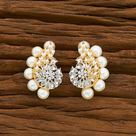 54918 CZ Short Earring with 2 tone plating