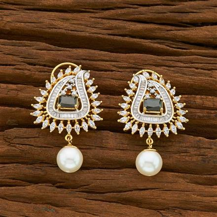 54921 CZ Short Earring with 2 tone plating