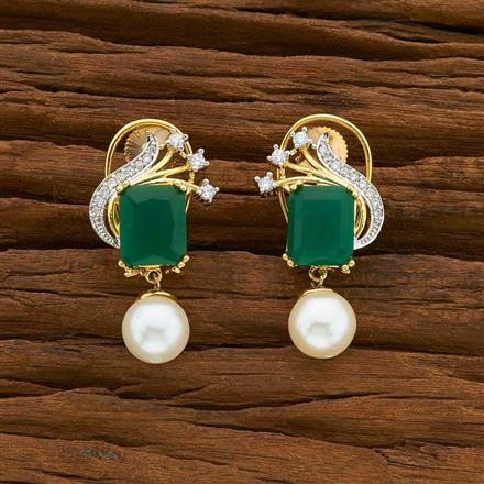54922 CZ Short Earring with 2 tone plating