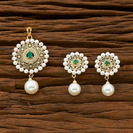 54930 CZ Classic Pendant Set with gold plating