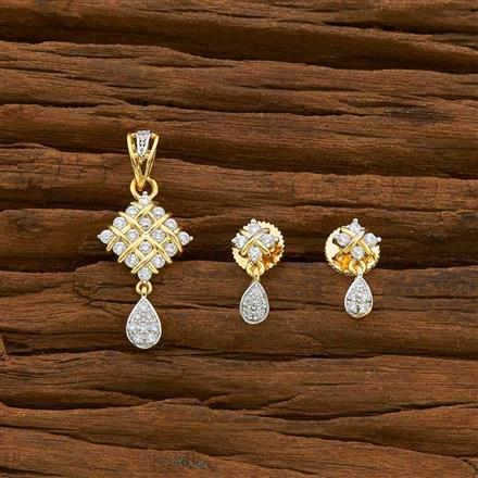 54941 CZ Delicate Pendant Set with 2 tone plating