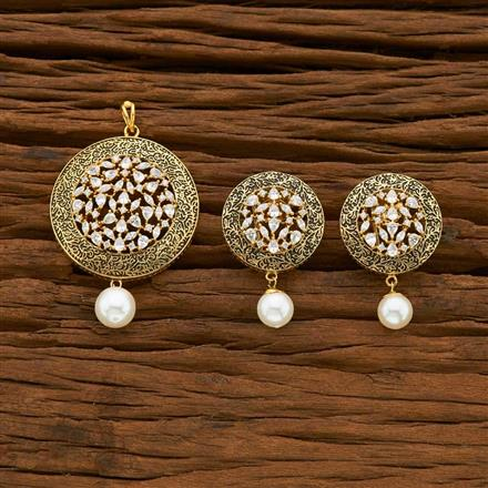 54945 CZ Classic Pendant Set with gold plating