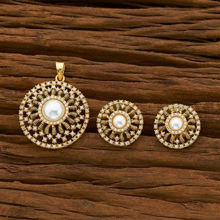 54947 CZ Classic Pendant Set with gold plating
