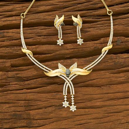 54955 CZ Stiff Necklace with gold plating