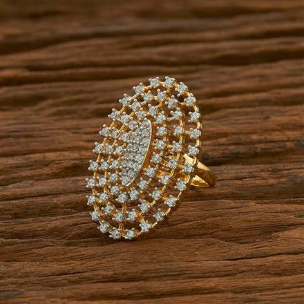 54963 CZ Classic Ring with 2 tone plating