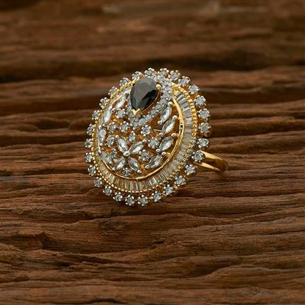 54965 CZ Classic Ring with 2 tone plating