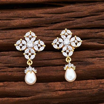 54980 CZ Delicate Earring with 2 tone plating