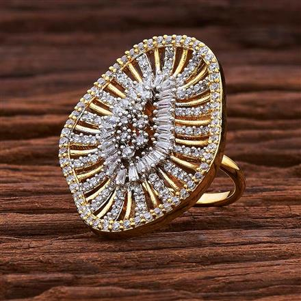 54984 CZ Classic Ring with 2 tone plating