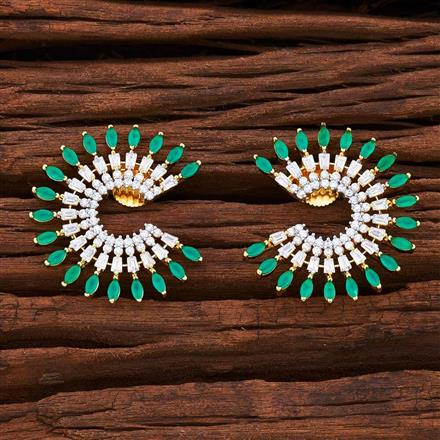 55036 CZ Chand Earring with 2 tone plating