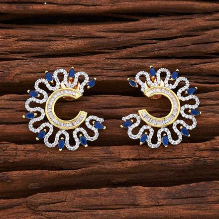 55037 CZ Chand Earring with 2 tone plating