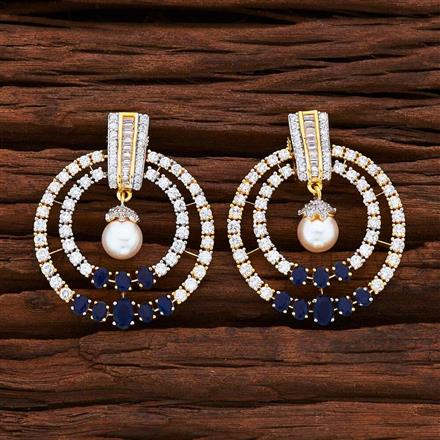 55039 CZ Short Earring with 2 tone plating
