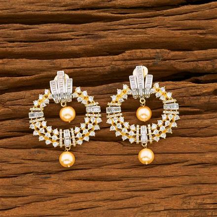 55053 CZ Short Earring with 2 tone plating