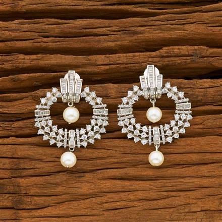 55054 CZ Short Earring with rhodium plating