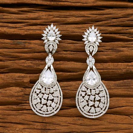 55059 CZ Classic Earring with rhodium plating