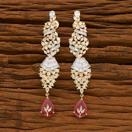 55060 CZ Long Earring with 2 tone plating