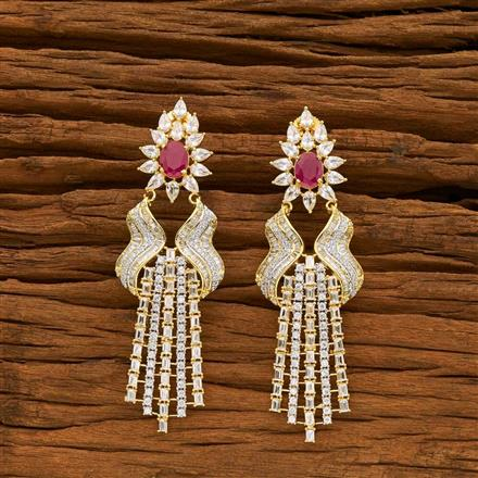 55064 CZ Classic Earring with 2 tone plating