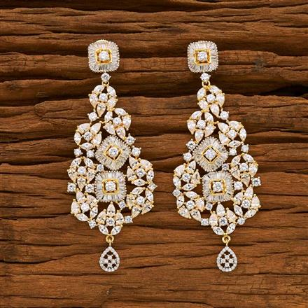 55066 CZ Classic Earring with 2 tone plating