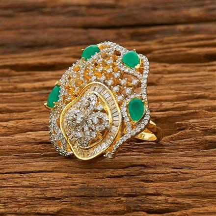 55092 CZ Classic Ring with 2 tone plating