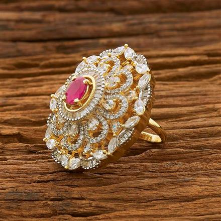 55094 CZ Classic Ring with 2 tone plating