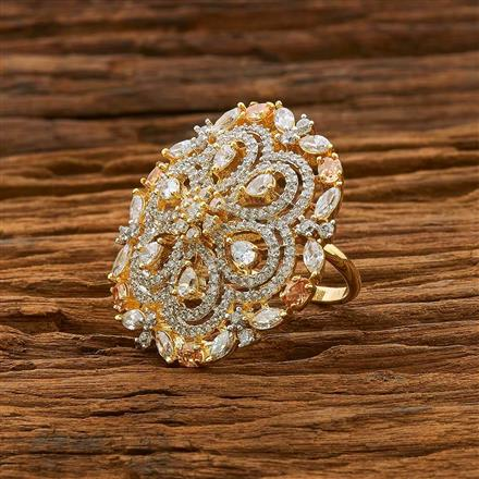 55096 CZ Classic Ring with 2 tone plating
