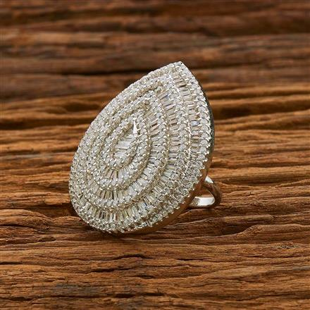 55098 CZ Classic Ring with rhodium plating