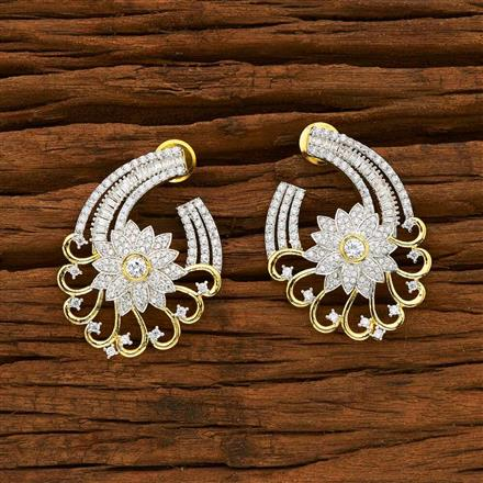 55116 CZ Chand Earring with 2 tone plating