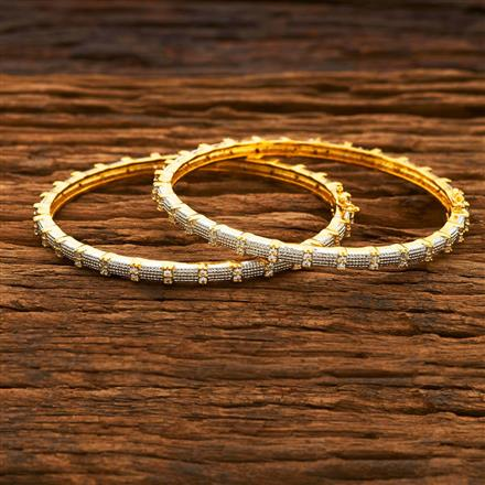 55170 CZ Openable Bangles with 2 tone plating