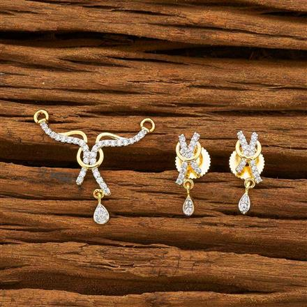 55174 CZ Delicate Mangalsutra with 2 tone plating