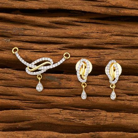 55175 CZ Delicate Mangalsutra with 2 tone plating