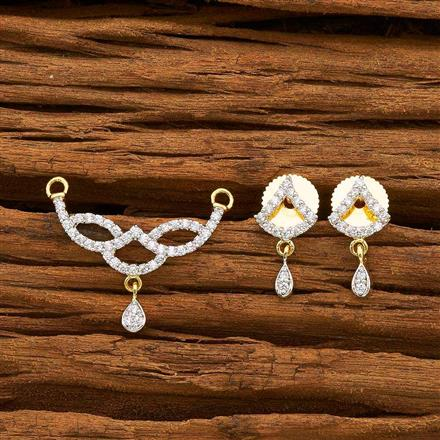 55176 CZ Delicate Mangalsutra with 2 tone plating