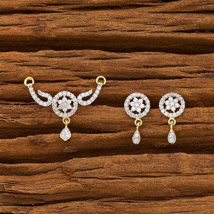 55177 CZ Delicate Mangalsutra with 2 tone plating