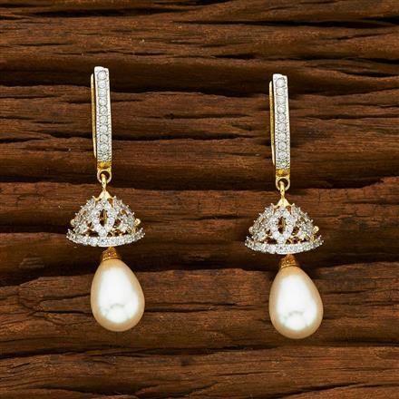55337 American Diamond Jhumki with 2 tone plating