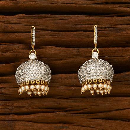 55338 American Diamond Jhumki with 2 tone plating